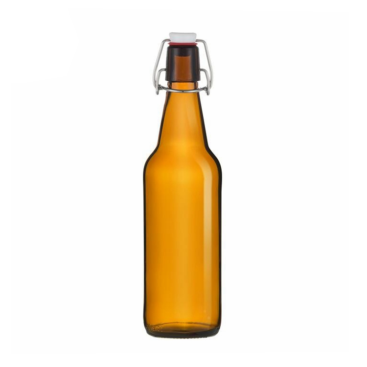 cheap 500ml amber beer glass bottle oil sauce cold pressed beverage juice glass bottle with swing top 16oz