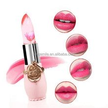 Transparent flower jelly lipstick magic changing color with flower inside kiss beauty cosmetic