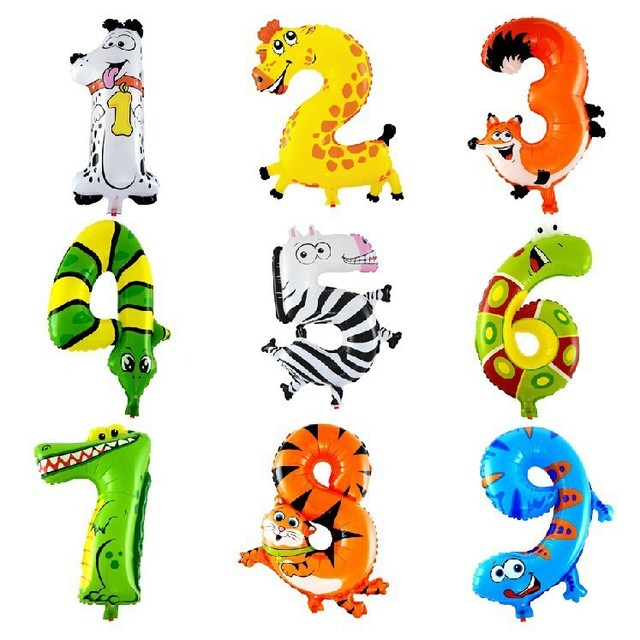 0-9 Number  Animals Cartoon 16inch Mylar Balloon, for Party Birthday balls Decoration. number children air inflatable  balloons