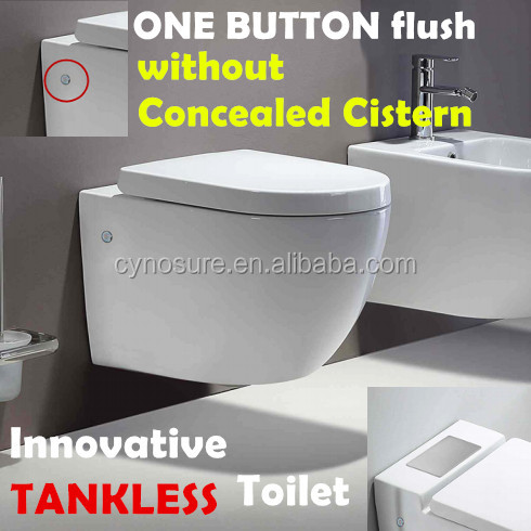 "20YRS Warranty""TANKLESS""Ceramic Wall Hung toilet"