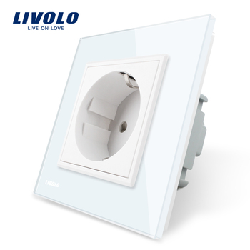 Livolo EU Standard Power Sockets White Crystal Glass Panel AC 110~250V 16A Wall Power Socket VL-C7C1EU-11