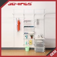 White Custom Made Wall Mounted Portable Metal Wardrobe Closet