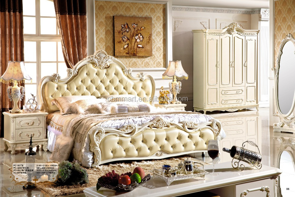 luxury classical king size bed room furniture set 0407