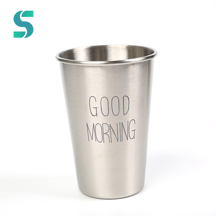 Stackable Single Wall 16Oz Brushed Coffee Stainless Steel Pint cup with Customized Logo