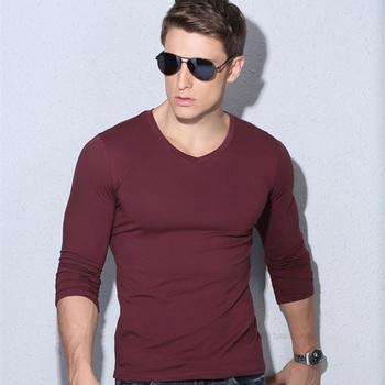 ATSC017 Solid Color Long Sleeves T Shirt Menfull Mens Tees Lycra Cotton