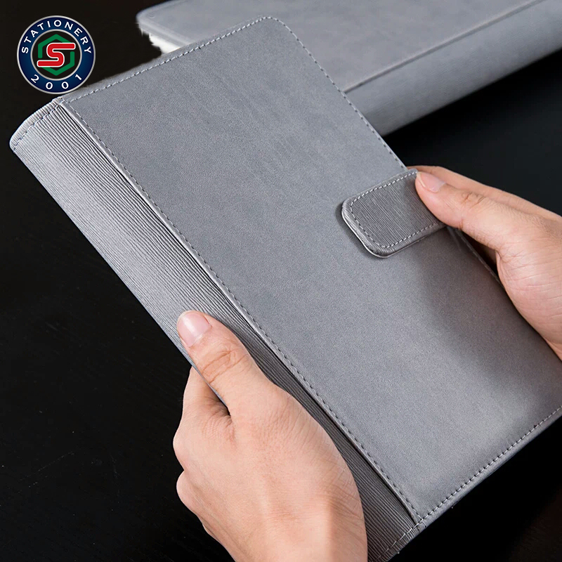 premium quality pu leather loose leaf notebook with leather closure clasp