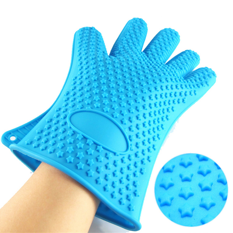 Food Grade Silicone Waterproof Cooking and Grilling Gloves Heat Resistant BBQ Grill Baking Oven Gloves Potholder,1 Pair (Blue)