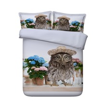 Cute Owl wearing a Straw Hat 3d bedding set
