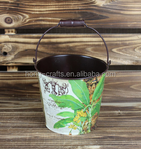 2015 new design paper decal zinc flower bucket wholesale