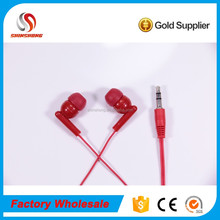 stereo red unique mini 3.5mm cheap disposable aviation earphone silicone bulk earbuds 2017