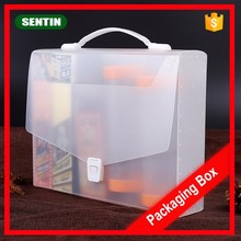 Customized A4 Eco-Friendly plastic pp clear polypropylene document holder file folder box case with handle