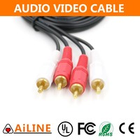 AiLINE Fast Shipping 24K Gold Plated Male to Male 2V2 Video Cable RCA