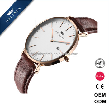 New factory fashion stainless steel leather luxury watches men