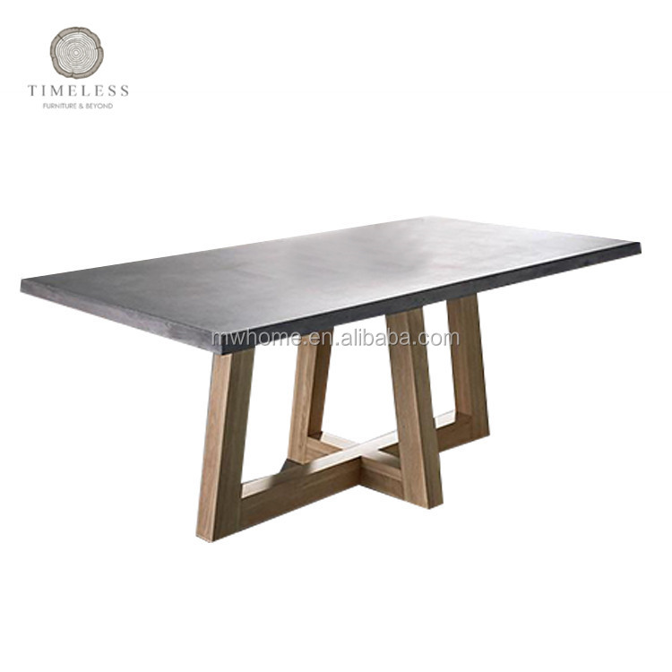 New design oak cross legs concrete dining <strong>table</strong>