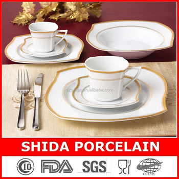 Unique S shape porcelain dinner set with gold design in 18pcs/20pcs/30pcs/47pcs SDG3061