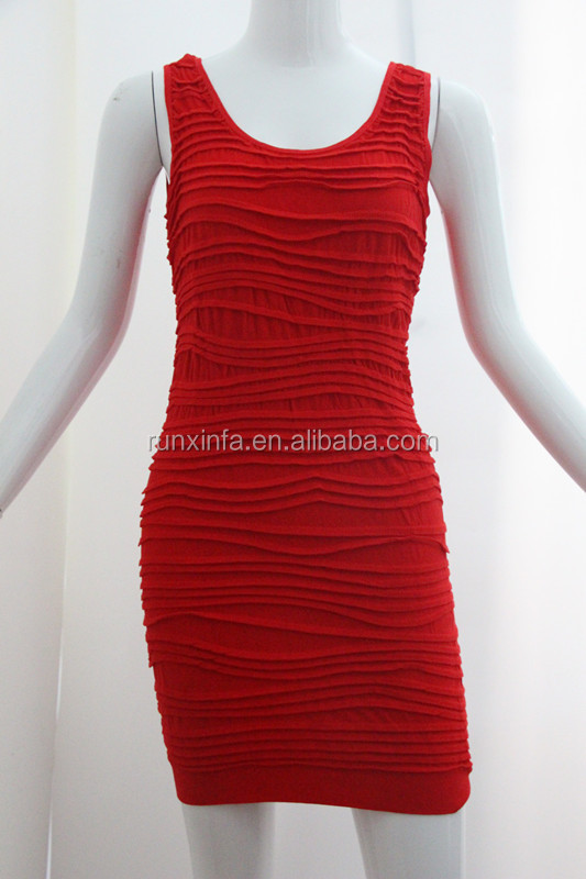 2015 red color fashion dress one piece girls party dresses apparel