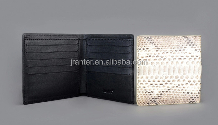 luxury design handmade men bifold wallet 100% genuine snake leather wallet