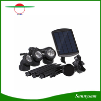 Solar Powered 3 Bulbs Submarine Spotlight 18LEDS Garden Pool Pond Lamp Underwater Lights with Ground Spike