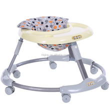 Easy folding portable baby walker with 8 swivel big wheels for toddlers