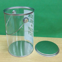 Wholesale PVC transparent plastic bucket with tinplate lid