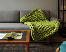 Christmas Gift 100%wool Knitted Blanket Home Decor Merino Wool Giant Knit Throw Blanket