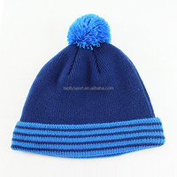 2016 Girl's Winter Acrylic Custom Blue Knitted Pom Beanie Hat