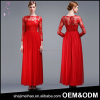 Spring Summer Fashion Red Color See Through Long Sleeve Bride Dress Maxi Evening Dress Size XXL