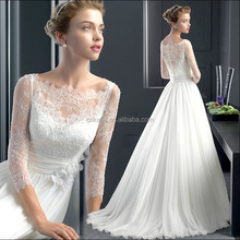 K1652A new fashion long sleeve bride gowns long fishtail white wedding dress 2017
