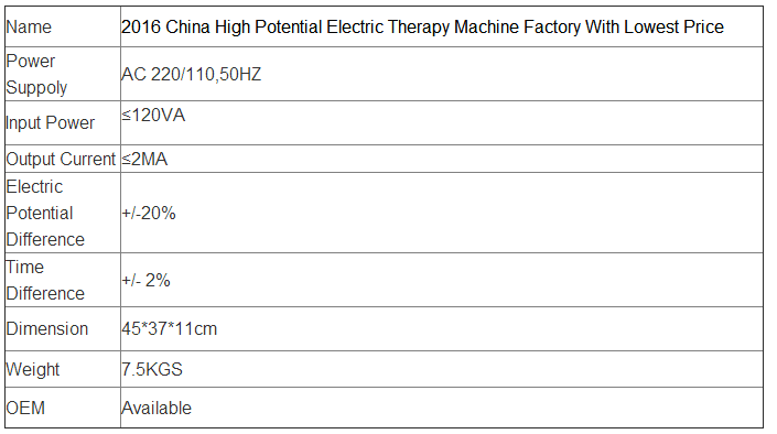 2016 China High Potential Electric Therapy Machine Factory With Lowest Price