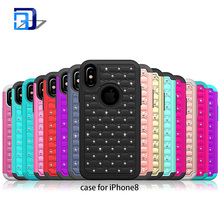 New design silicone pc phone case bling rhinestones decorative cell phone cover for iphone X
