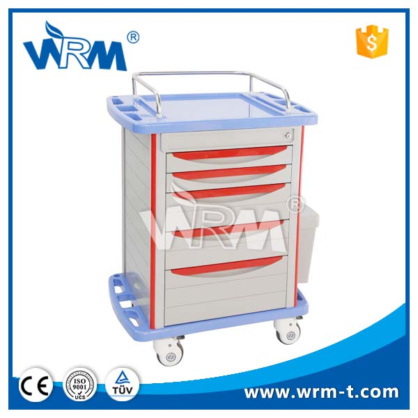 China new delivery Hospital ABS plastic medicine trolley, surgical instruments trolley
