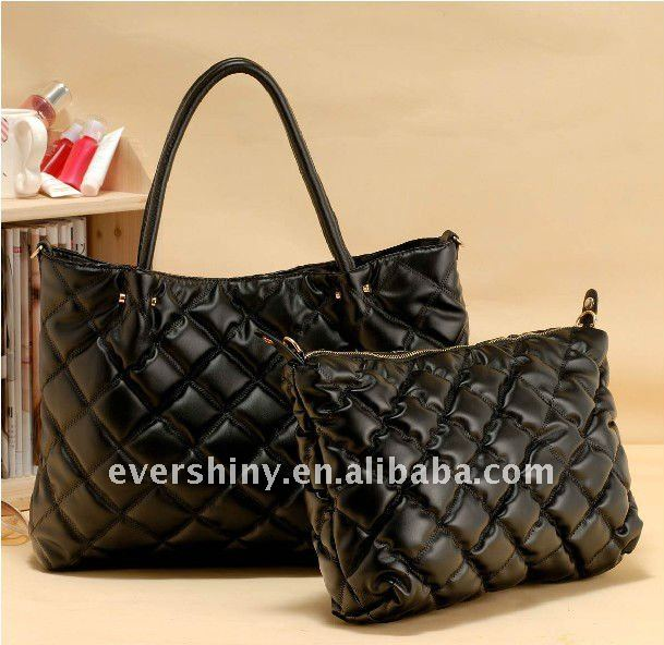 PU black big and small set channel bags handbags fashion