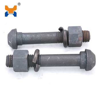 Customized steel railway fastening system railroad screw spike track bolts and nuts