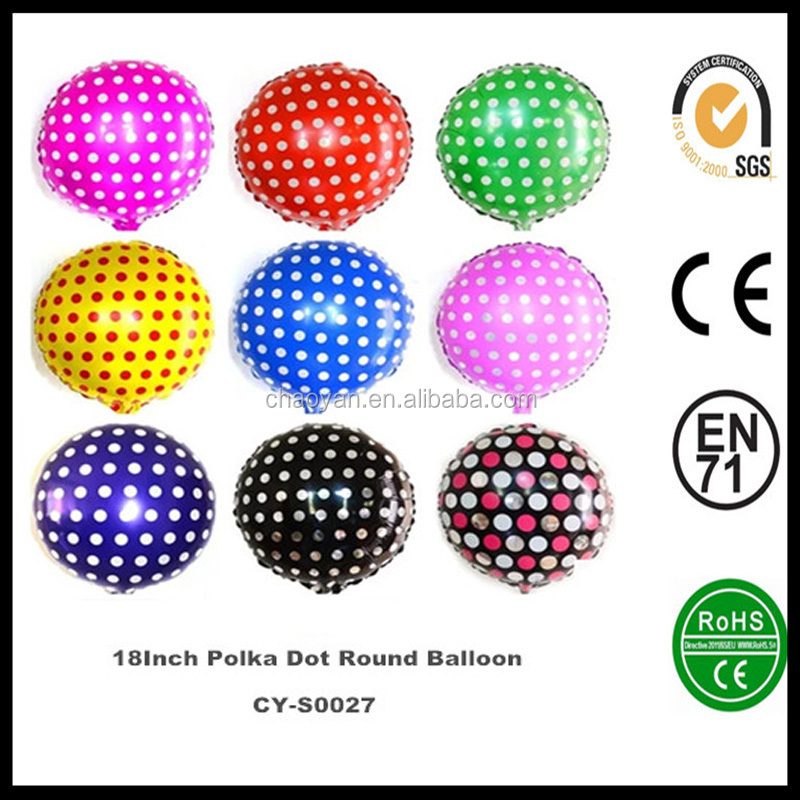 Wholesale helium balloon 18 Inch Polka Dot Round Shaped Helium foil balloons ,Beautiful Foil Balloons made in China