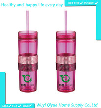 3D Cup Clear Promotional Cheap Straw Cup/ flat plastic lid / disposable plastic juice cup with lid