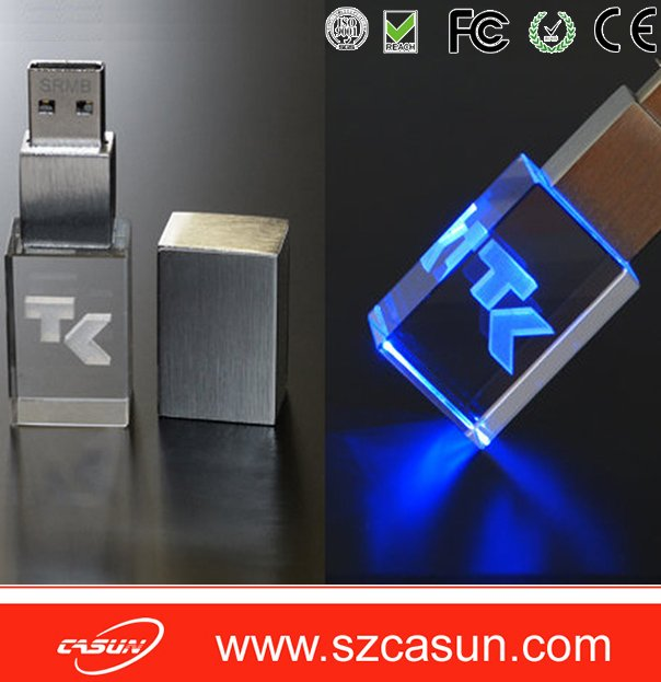 Custom 3D LOGO crystal usb flash drive ,cheap usb memory stick for FREE Sample