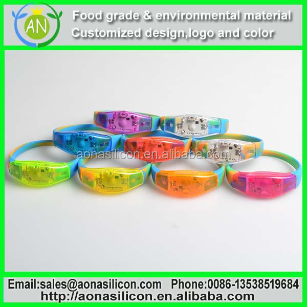 silicone sound activated LED lover running bracelet