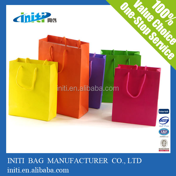 Offset Printing White Cardboard Paper Bag With Matt Lamination