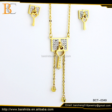 fancy key shaped stainless steel jewelry set for wedding