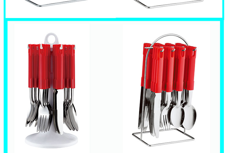 Customized Color Plastic Handle Stainless Steel Travel 4 pcs Cutlery Set