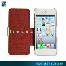 Hot selling White box press PU Leather case for Iphone 5