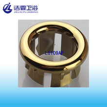 Gold lavatory overflow hole cover
