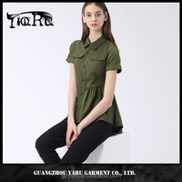 GuangZhou china women clothing manufacturer Short Sleeve V Neck Office Wear Ladies latest fashion peplum blouse african design