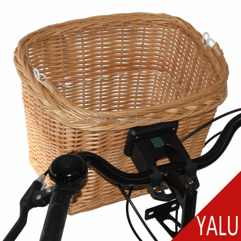 Eco-friendly handmade Wicker woven bicycle accessories front bicycle basket CZ-2013012-Q