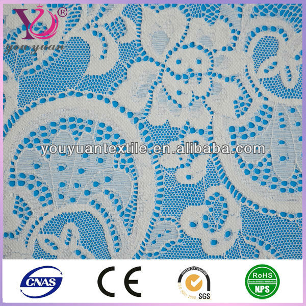 White streth lace fabric for curtains