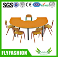 SF-16C Daycare Kids Furniture Wooden Children Table and Chairs Kindergarten Semi-ellipse Dining Table