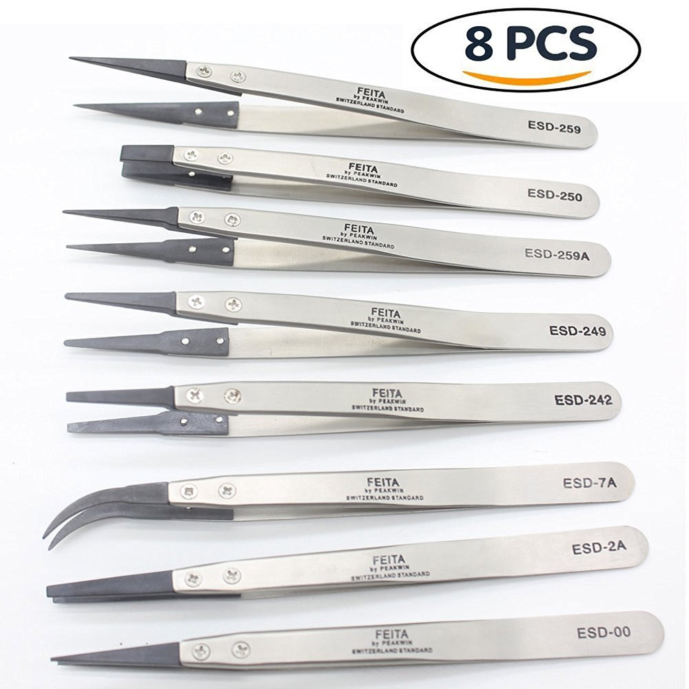 2018 high quality and cheap ESD interchangeable head tweezers stainless steel thickening and hardening anti-static carbon fiber