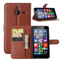 Guangzhou factory Lichee grain mobile phone wallet flip leather back cover for Nokia lumia 620