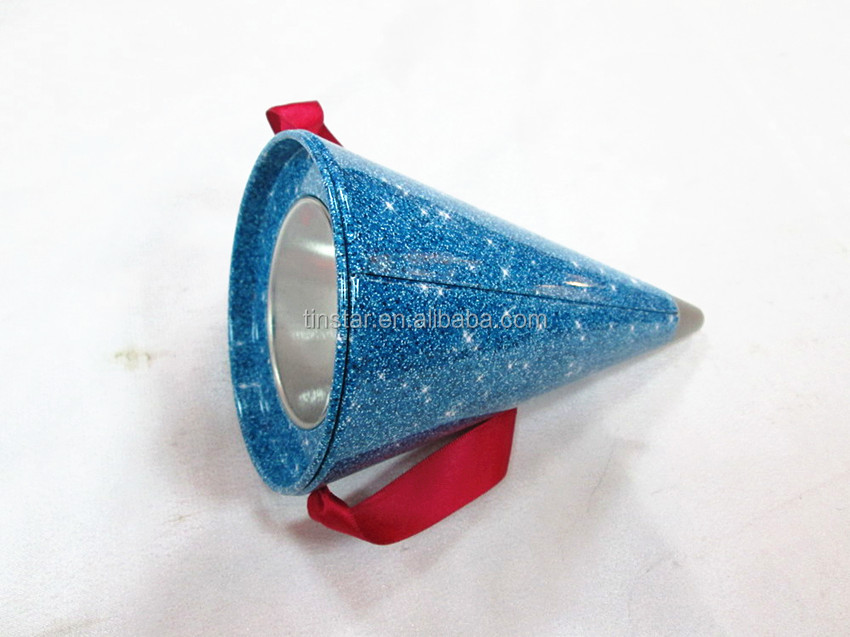 Environmental material Christmas decorative tin can,cone shape metal candy box