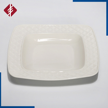 White porcelain deep square plates/deep square dinner plate/deep dish